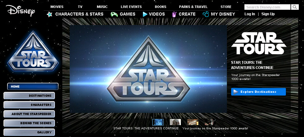 "Disney.com Launches ""Star Tours Intergalactic Destination"""